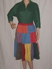 Vintage 50s Circle Skirt Patio Set Patchwork Floral Calico Cotton Square Dance