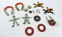 Vintage Lot of Pressed Tin and Magnet Fun in Vintage Plastic Case