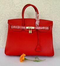 35cm Red Pebbled Italian Leather Birkin Type Satchel Handbag