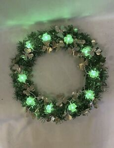 "15"" Lighted St Patricks Day Tinsel Wreath Green Gold Shamrocks Clovers Decor"