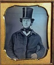 1/6 PLATE DAGUERREOTYPE- AMAZING QUALITY - TOP HAT MAN - IS THAT JEFF GOLDBLUM?