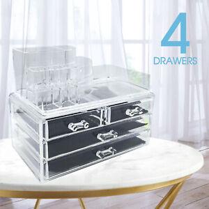Cosmetic 4 Drawer Makeup Organizer Storage Jewellery Box Clear Acrylic OZ Holder