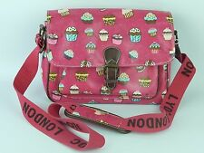 LYDC London Pink Oilcloth Vinyl Style Satchel Shoulder Bag With Cupcake Pattern