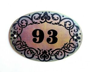 Soviet vintage tin apt door number plate 93 address Ninety Three plaque USSR