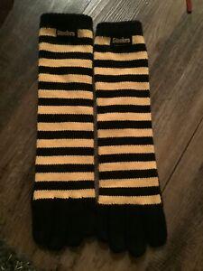 Reebok Pittsburgh Steelers Gloves Stripe Long  Knit Sports Logo Winter One Sz