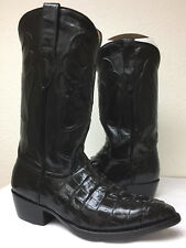 Mens Black Alligator Skin Leather Cowboy Western Boots Pointed Toe Size 7.5