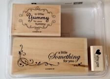 Stampin Up Yummy For Your Tummy With Love Set 3 Rubber Stamps Wood Euc A19888