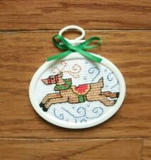 Finished completed cross stitch REINDEER Christmas ornament