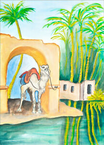 """""""THE CAMEL""""  PRINT ON FINE ART PAPER FROM ORIGINAL WATERCOLOUR  BY  LINA EVE"""