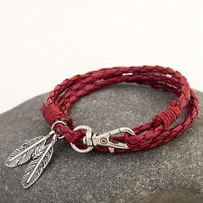 Leaf Charm Leather Bracelet Mens Womens Wrap Bangles Braided Rope Wristband