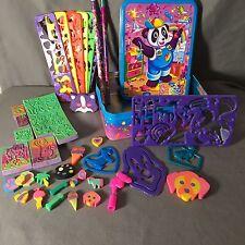 VTG Lisa Frank Stationery Tin Lot Pencils Stencils Erasers Stamps Topper Panda