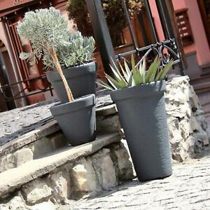 "Black 29.1"" Tall Large Massive Slim Round Elegant Tower Stone Effect Flower Pot"