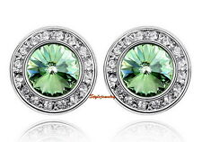 18k White Gold Filled Green Round Stud Earring Made With Swarovski Crystal XE59