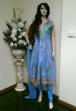 "38"" S Salwar Kameez Bollywood Indian Fancy Party Dress EID Diwali Blue Gold K11"