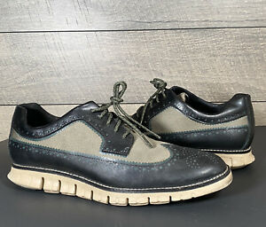 Cole Haan Zerogrand Mens Wing Tip Shoes Black And Olive Size 8.5