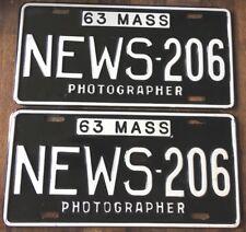 ORIGINAL GEM GLOSSY 1963 MASSACHUSETTS NEWS PHOTOGRAPHER LICENSE PLATES MA MASS