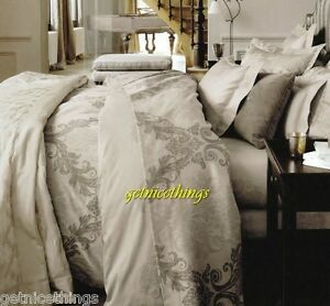 Yves Delorme Queen Duvet Cover Baroque Pierre Scroll Medallion Sateen NEW $625