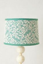 NIB Anthropologie VEILED LAMP SHADE Floral Lace Table Lamp Green Stitching