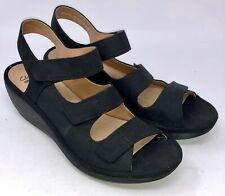 Clarks Reedly Juno Black Nubuck Wedge Sandals Women's Size 10 M