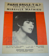 MIREILLE MATHIEU . Partition . PARIS EN COLÈRE . sheet music