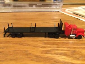 N Scale unknown mfg conventional semi truck w/trailer excellent condition