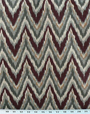 Drapery Upholstery Fabric Cotton Flame Stitch Design 100K DRubs - Burgundy/Gray