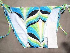 Bikini Bottom Hula Honey Sz S Multi Blue Green White Yellow Side Tie Swim Bottom