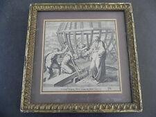 Gravure originale XVIIe encadrée RAPHAEL VILLAMENA CONSTRUCTION ARCHE DE NOE