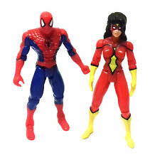 "Marvel Comics Vintage Retro 90's SPIDERMAN & SPIDERWOMAN  5"" action figure toys"