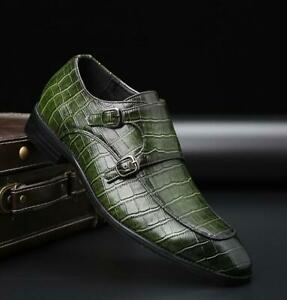 Business Mens Dress Formal Leather Shoes Work Buckle Pointy Toe Crocodile Print