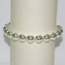 Sterling Silver 925 10mm Seamless Beads Anklet - Custom made to your size