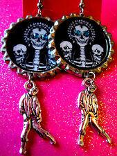 Walking Dead Zombie Dangle Charm Earrings #53 Day Of The Dead Sugar Skull With