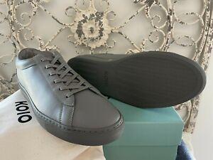 KOIO Men 13 US (46 EU) Capri Clay Gray Full-grain Leather Italian Sneakers Shoes