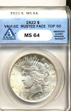 1922 $1 VAM 5C Triple Die Reverse  Eroded Face TOP 50 Peace Dollar