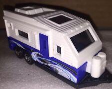 Matchbox OUTDOOR SIGHTS Design TRAVEL TRAILER Camper White / Blue Loose 1:64 New