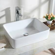 UK Modern Design Bathroom Countertop Rectangle Bowl Top Ceramic Basin Sink White