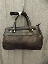 Vtg New Classy Black Real Leather Patchwork Shoulder bag Handbag Purse 9x14.5x5