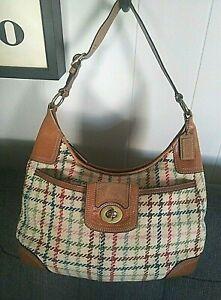 Coach Hamptons Tattersall Multi Color Leather 100% Wool Hobo Handbag Purse