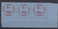 1971 STRIKE MAIL INLAND LETTER SERVICE 5/- 25p MARGINAL STRIP OF 3 STAMPS MNH