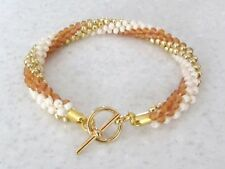 Naranja, Oro y rayas en crema kumihimo pulsera, semillas de grano de Moda Regalo para Ella