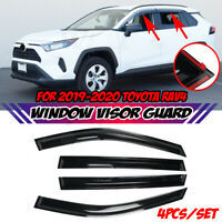 4x Glossy Black Window Visor Weather Shield Guard Vent For Toyota RAV4 2019-2020