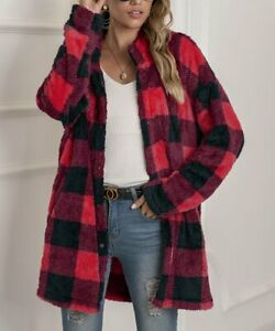 Red Wine Buffalo Check Plush Button-Up Jacket Sz XL