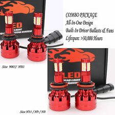4 Bulbs Kit H11 9005 6000K LED 1960W 294000LM Combo Set Headlight High Low Beam