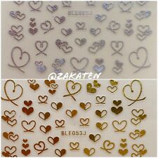 3D Nail Art Sticker Adhesive Transfer Gold/Silver Heart Valentine's Day USSeller