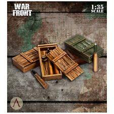 Escala 75 Frente de Guerra Alemán Munición Cajas y conchas de resina para 75mm 1/35th