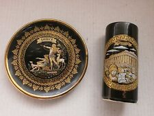 Lot 2 Porcelain Saucer Hand Made in Greece Black & Gold  Plate with 24 K Gold