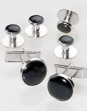 New Black Silver Tuxedo cufflinks studs Shirt cuff links 1 year guarantee!