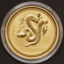 "2 oz Australien 2001 Lunar Serie I ""Year of the Snake"" (Schlange) 2 Unzen 999,9"