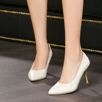Womens Stiletto High Heel Pointed Toe Synthetic Leather Shoes Pump Shoes Plus Sz