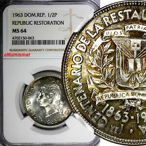 Dominican Restoration Republic Silver 1963 1/2 Peso NGC MS64 Mint-300,000 KM# 29
